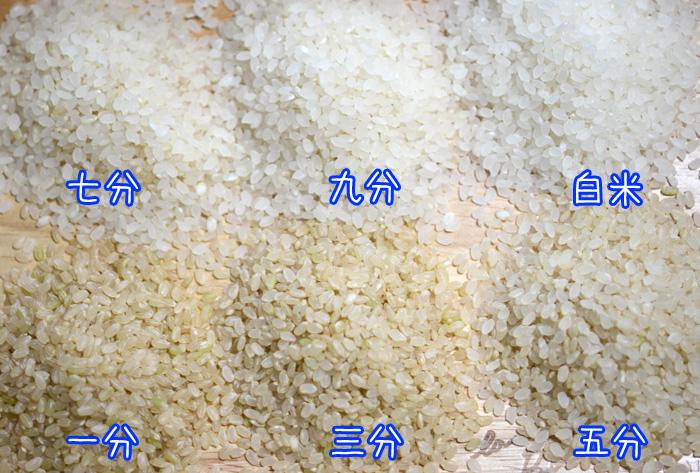 白米から一分づきまでの分搗き米